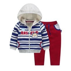 Ansel's - Kids Set: Striped Hooded Jacket + Sweatpants