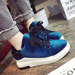Shoeland - Velvet Lace Up Sneakers