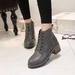 YIVIS - Block Heel Lace-Up Ankle Boots