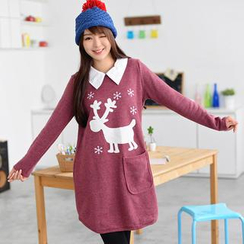 59 Seconds - Contrast Collar Reindeer Appliqué Dress