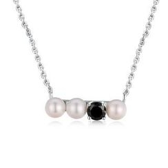 MBLife.com - Left Right Accessory - 925 Silver Freshwater Pearl Black CZ Necklace (16')