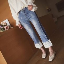 Cocofield - Lace Panel Wide Leg Jeans