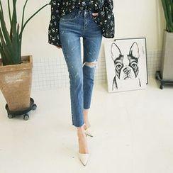 DABAGIRL - Distressed Washed Slim-Fit Jeans