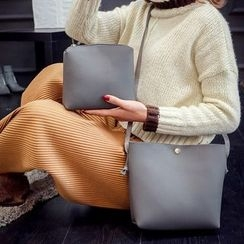 Diamante - 套裝: 人造皮單肩包 + 拉鍊小袋