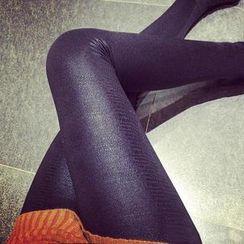 Jack Grace - Fleece-Lined Snakeskin Leggings