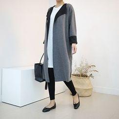 STYLEBYYAM - Contrast-Trim Open-Front Long Cardigan