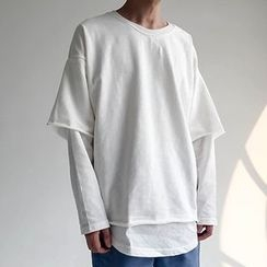 Chuoku - Mock Two-Piece Long Sleeve T-Shirt