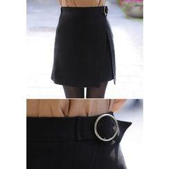 MyFiona - Band-Waist Ring-Buckle Mini Skirt