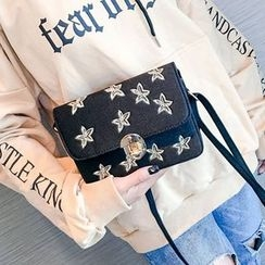 Lizzy - Faux-Leather Star-Embroidered Mini Shoulder Bag