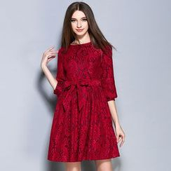 Cherry Dress - Elbow-Sleeve Tie Pleated Dress