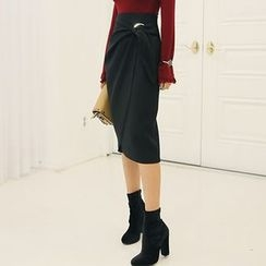 DABAGIRL - Buckled Wrap-Front Midi Pencil Skirt