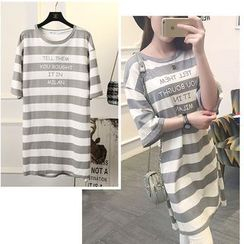 Nassyi - Striped Elbow-Sleeve Long T-Shirt