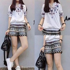 lilygirl - Set: Short-Sleeve Embroidered Top + Patterned Shorts