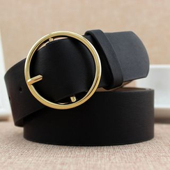 Coco Rush - Round Buckle Faux Leather Belt