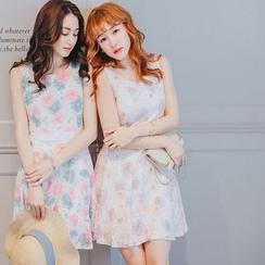 Tokyo Fashion - Sleeveless Flower Tie Waist Dress