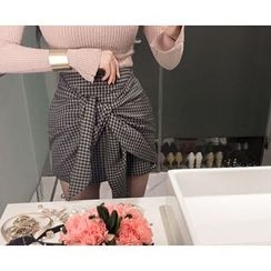 Marlangrouge - Tie-Front Check Mini Skirt
