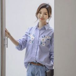 JUSTONE - Flower-Embroidered Stripe Shirt