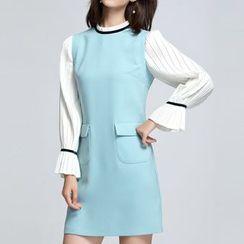 Sentubila - Long-Sleeve Mock Two Piece A-line Dress