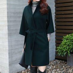 NINETTE - 3/4-Sleeve Tie-Waist Open-Front Jacket