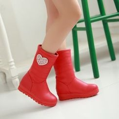 Pastel Pairs - Heart Padded Mid-calf Boots