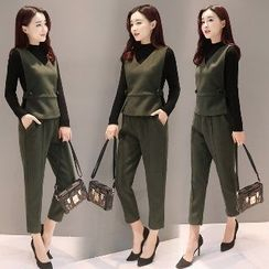 Romantica - Set of 3: Long-Sleeve Mock-Neck Top + V-Neck Vest + Plain Pants