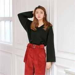 MAGJAY - Wool Blend V-Neck Knit Top