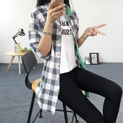 Heybabe - Gingham Long Shirt