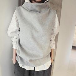 NANING9 - Wool Blend Funnel-Neck Sleeveless Top