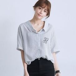 BAIMOMO - 短袖後結帶條紋襯衫