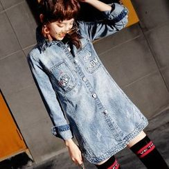Romantica - Printed Washed Buttoned Denim Coat