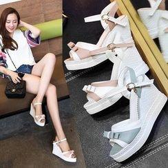 Freesia - Bow Wedge Sandals