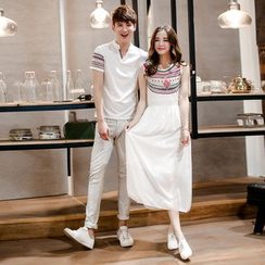 Je T'aime - Couple Matching Patterned Short Sleeve Polo Shirt / Sleeveless Midi Dress