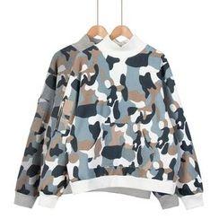 Momewear - Long-Sleeve Camouflage Print Top