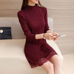 Aigan - Lace-Hem Ribbed Knit Dress