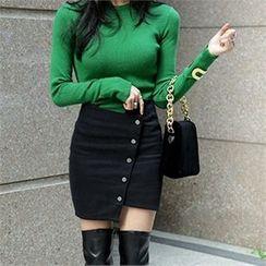 LIPHOP - Snap-Button Front Asymmetric-Hem Skirt