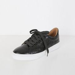 DABAGIRL - Láme Faux-Leather Sneakers