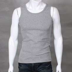 Seoul Homme - Plain Round-Neck Tank Top