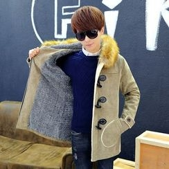 Keerme - Fleece-Lined Hooded Buttoned Coat