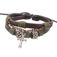 KINNO - Cross Genuine Leather Bracelet