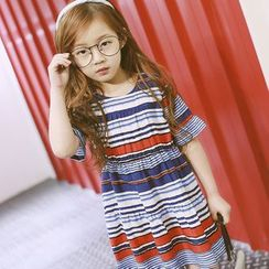 Lemony dudu - Family Matching Short-Sleeve Striped Dress