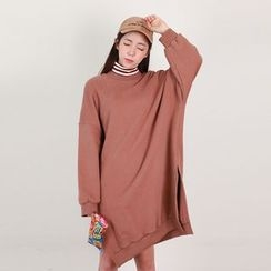 Vintage Vender - Drop-Shoulder Slit-Hem Pullover Dress