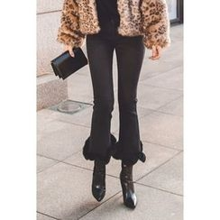 migunstyle - Faux-Fur Boot-Cut Pants