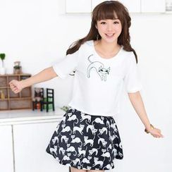 59 Seconds - Set: Cat Embroidered Cropped Top + Cat Print A-Line Skirt