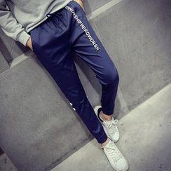 Fisen - Lettering Drawstring Pants