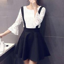 Ekim - Set: Lace 3/4 Sleeve Top + Jumper Skirt