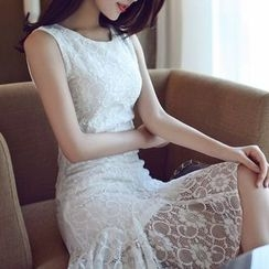 anzoveve - Ruffle Hem Sleeveless Lace Dress