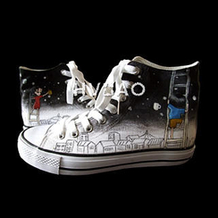 HVBAO - 'Our Starry Sky' High-Top Canvas Sneakers