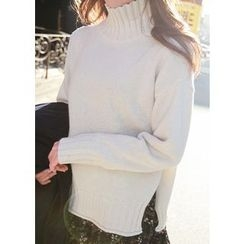 J-ANN - High-Neck Knit Sweater