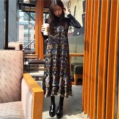KUMI - 套裝: 蕾絲吊帶花裙 + 長袖上衣