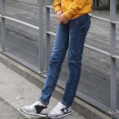 Seoul Fashion - Distressed Straight-Cut Jeans